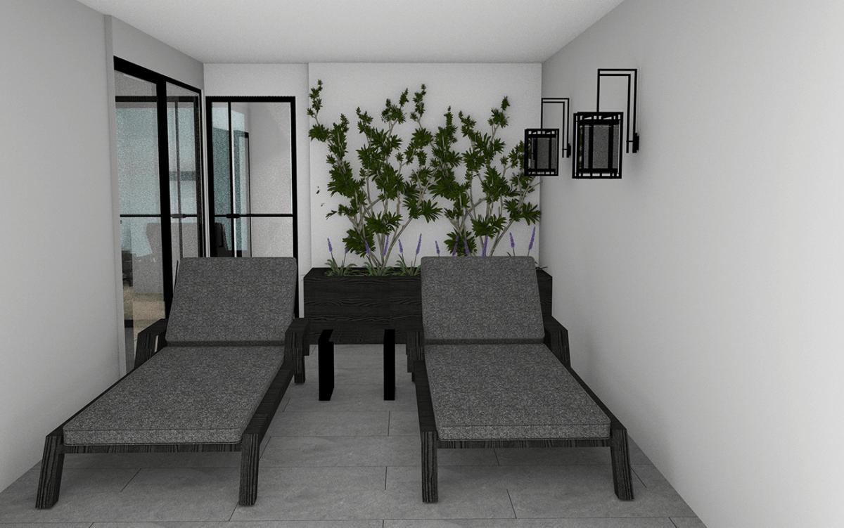 3D tekening ligstoelen