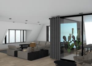 3D tekening woonkamer